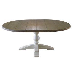 Masi runt matbord - Antikvit / antikbehandlad ask