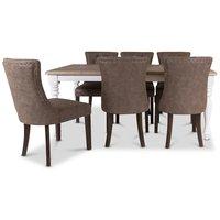 Elmwood matgrupp inklusive 6 st Tuva stolar - Vit / brun