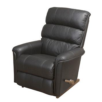 Lazboy New Haven reclinerfåtölj i skinn / pvc - Svart / körsbärsträ