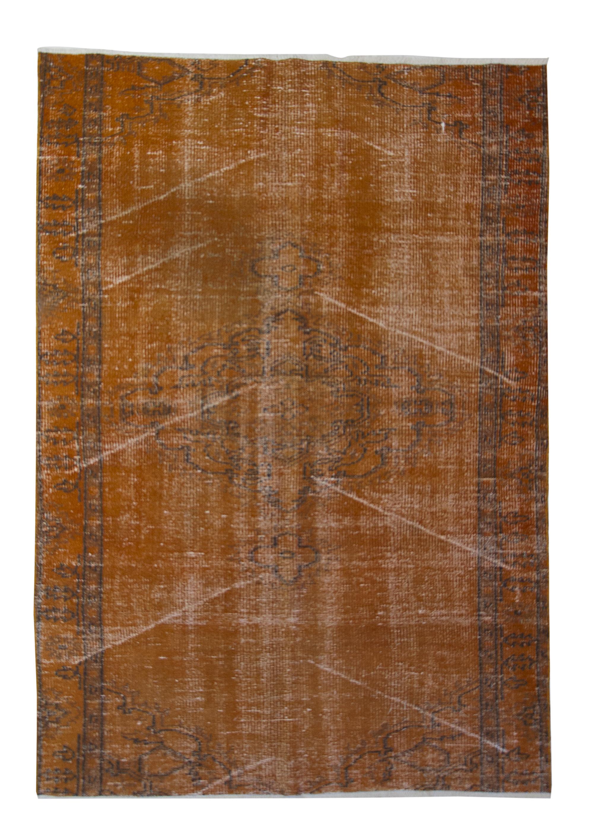 Äkta handknuten matta - Overdyed vintage Orange
