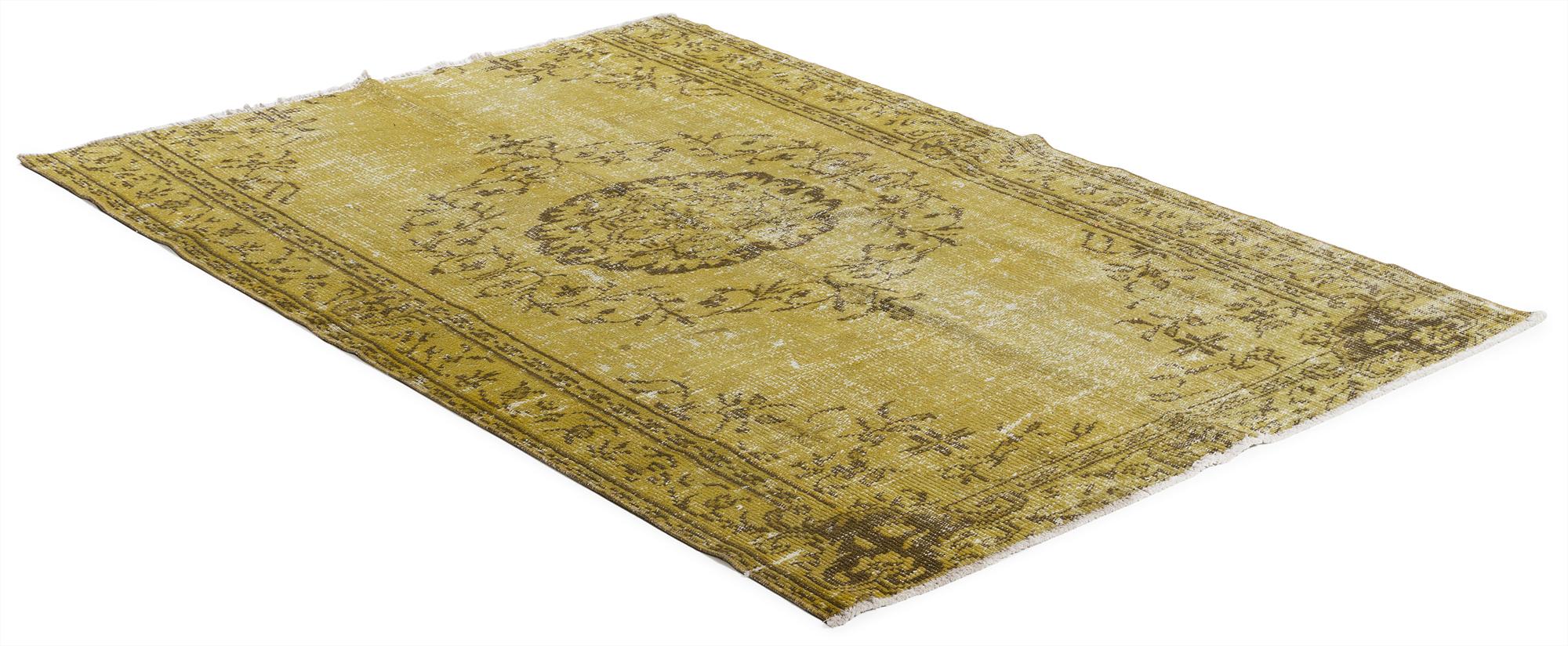 Äkta handknuten matta - Overdyed vintage Gul