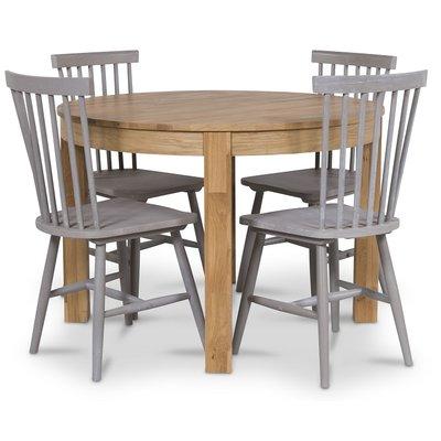 Dalarö matgrupp runt bord ek + 4 st grå pinnstolar