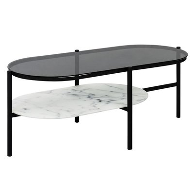 Worcester ovalt soffbord - marmor/svart glas