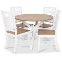 Skagen matgrupp - Runt bord inklusive 4 st Herrgård Gripsholm stolar ekbetsad sits - Vit/Ekbets