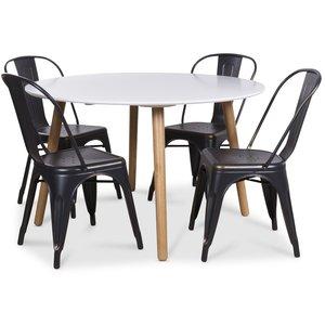 Rosvik matgrupp, Runt matbord med 4 st Industry plåtstolar - Vit/Svart/Guld