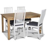 Österlen matgrupp, Klassiskt 140 cm matbord i ek med 4 st vita Kivik matstolar med grå tygsits