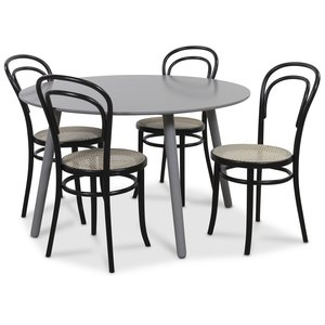 Rosvik matgrupp grått runt bord med 4 st Stol No14 med rotting - Grå / Svarta