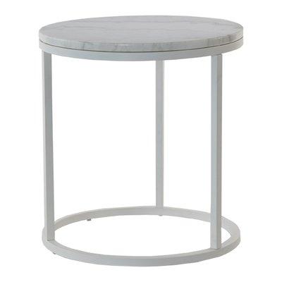 Accent soffbord rund 50 vit marmor vitt underrede for Marmor tischplatte rund