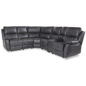 Enjoy recliner-hörnsoffa - 4-sits (el) i grått konstskinn
