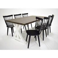 Provence matgrupp - Bord inklusive 6 st stolar - Brun / svart
