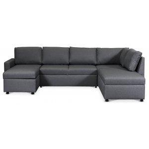 Dream bäddsoffa med förvaringar (U-soffa) höger - Mörkgrå (tyg)