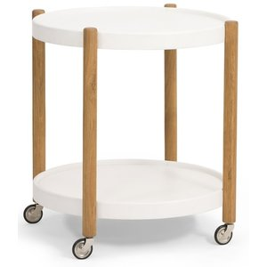 Sammy soffbord med hylla Ø60 cm - Vit/Ek