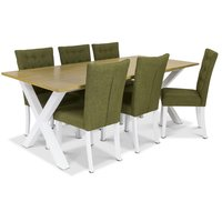 Isabelle matgrupp - Bord inklusive 6 st Crocket stolar med grön klädsel - Vit/ekbets