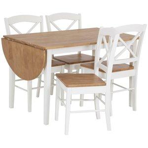 Merida matgrupp: Klaffbord Merida med 4 st vita merida stolar