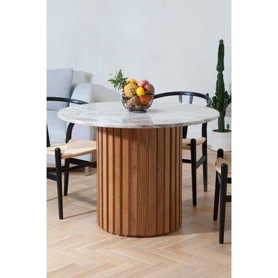 Matisse runt matbord i marmor - Ek (Lameller) / Marmor