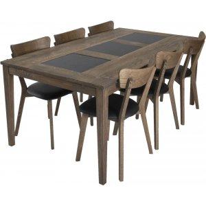 Habo matgrupp inkl. 6 st Ekeby stolar - Ek/granit