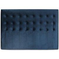 Centa sänggavel med knappar (Blå sammet) - Valfri bredd