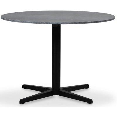 SOHO matbord Ø105 cm - Matt svart kryssfot / Grå marmor