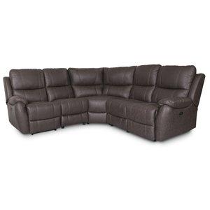 Enjoy Hollywood recliner-hörnsoffa - 4-sits (el) i mörkbrunt microfibertyg