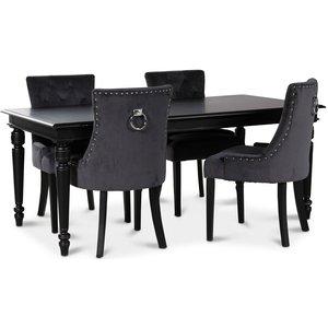 Paris matgrupp svart bord med 4 st Tuva stolar i grått sammet med rygghandtag