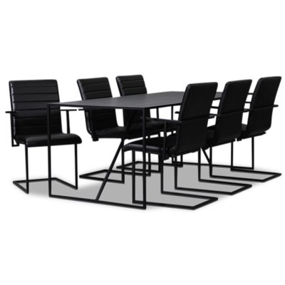 Lazio matgrupp 195 cm bord med 6 st Lazio stolar - Svart
