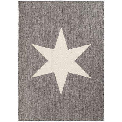 Flatvävd matta Sandby Stjärna - Grå/vit