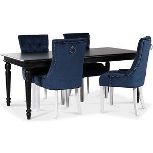 Paris matgrupp svart bord med 4 st Tuva Decotique stolar i blå sammet
