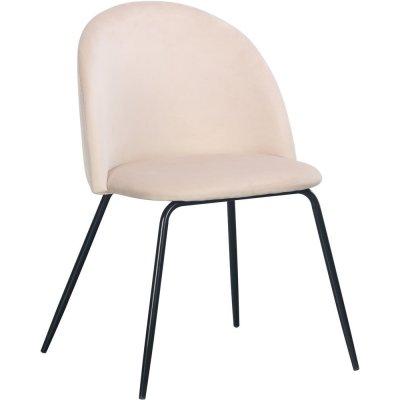Giovani velvet stol - Ljusbeige/Svart