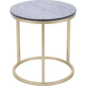 Accent soffbord runt 50 - Grå marmor / Mässingsfärgat underrede