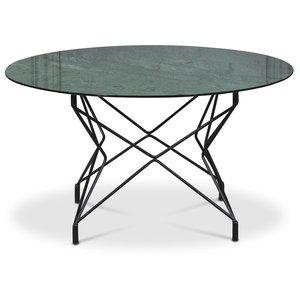 Soffbord Star 90 cm - Grönt marmorerat glas / svart underrede