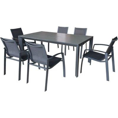 Ekeryd utegrupp: 5 stolar och bord - Antracit