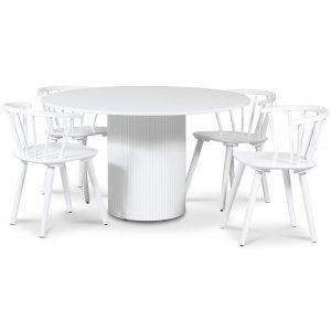 Pose matgrupp: Bord Ø130 cm inklusive 4 st Dalsland karmstolar - Vitbetsad ek