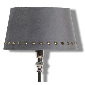 Velvet lampskärm med nitar 25 cm - Grå / mässing & 219.00