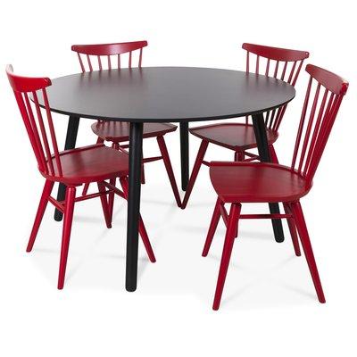 Rosvik matgrupp runt svart matbord med 4 st Thor pinnstolar- Svart / Rött