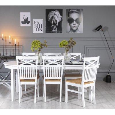 Gåsö matgrupp: Bord 160/210 cm inklusive 6 Fårö stolar med kryss - Vit/Ek