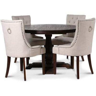 Lamier matgrupp Bord med 4 st Tuva stolar i Beige tyg med rygghandtag