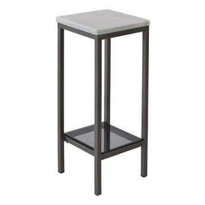 Ascot sängbord/piedestal 65 cm - Vit marmor / grå
