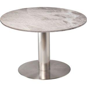 Next 105 runt matbord - Borstad stål / marmor (Beige)