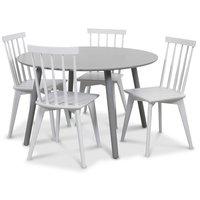 Rosvik matgrupp grått runt bord med 4 st vita Linköping pinnstolar