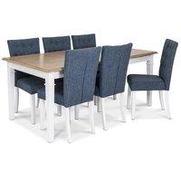 Ramnäs matgrupp - Bord inklusive 6 st Crocket stolar med blå klädsel - Vit/ekbets