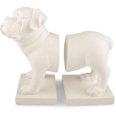 Bokstöd Bulldog - Vit