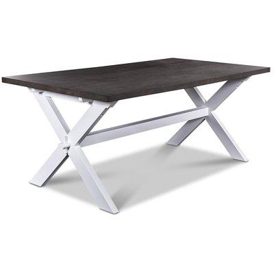 Nomi matbord med x-ben 180 cm - Vit/Brungrå