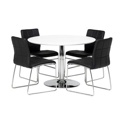 Matgrupp: Crica matbord - vit/krom - ø110 cm + 4 st stolar