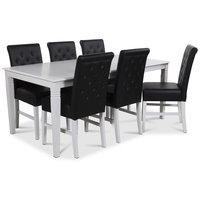 Mellby matgrupp 180 cm bord med 6 st Twitter matstolar i svart PU