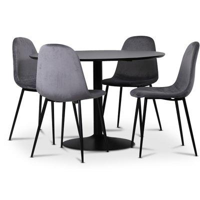 Seat matgrupp, matbord med 4 st Carisma sammetsstolar - Svart/Grå