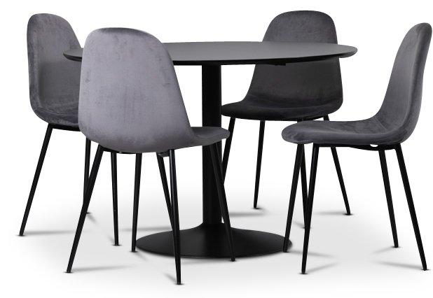 Seat matgrupp, matbord med 4 st Carisma sammetsstolar SvartGrå