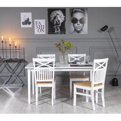 Gåsö matgrupp: Bord 150 cm inklusive 4 Fårö stolar med kryss - Ek/vit