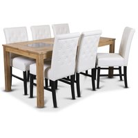 Jasmine matgrupp med bord och 6 st vita Twitter stolar - Oljad ek / vitt PU