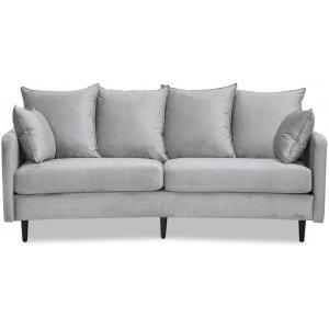 Gotland 3-sits svängd soffa - Gråbeige sammet