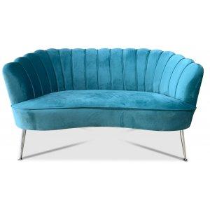 Snäckan 2-sits soffa - Turkos sammet / Krom